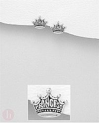 Cercei mici din argint, model coroana cu text PRINCESS