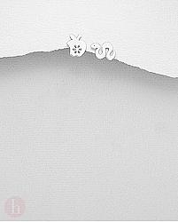 Cercei mici din argint model cu mar si sarpe