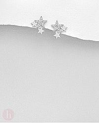 Cercei mici din argint model cu trei stele si cristale albe