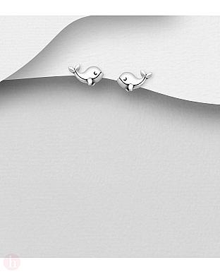 Cercei mici din argint model delfin