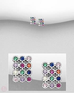 Cercei mici din argint model dreptunghi cu cristale colorate