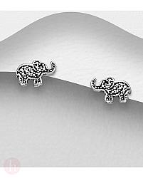 Cercei mici din argint model elefant