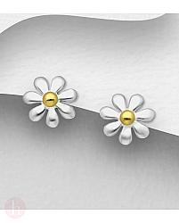 Cercei mici din argint model floare
