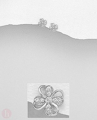 Cercei mici din argint model floare cu cristale albe