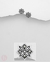 Cercei mici din argint, model floare cu marcasite