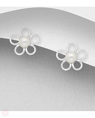 Cercei mici din argint model floare cu perla