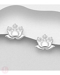 Cercei mici din argint model floare cu cristale