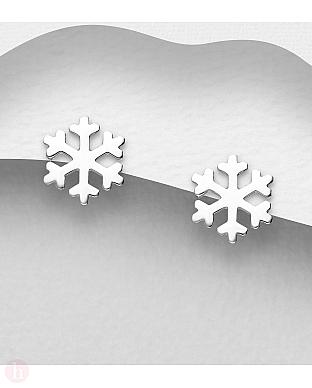 Cercei mici din argint model fulg de zapada
