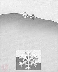 Cercei mici din argint, model fulg de zapada