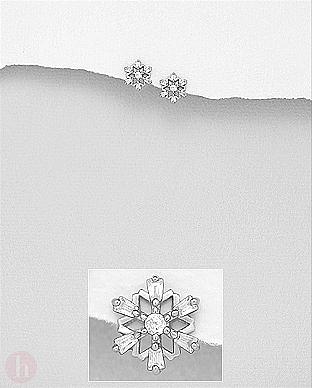 Cercei mici din argint model fulg de zapada cu cristale albe