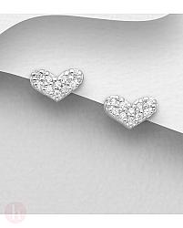 Cercei mici din argint model inima cu cristale