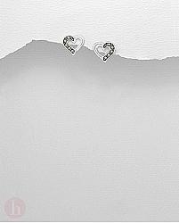 Cercei mici din argint model inima cu marcasite