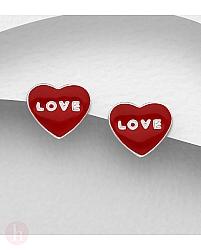 Cercei mici din argint model inima rosie si text Love