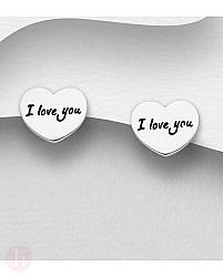 Cercei mici din argint model inima si mesaj I Love You
