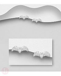 Cercei mici din argint model liliac cu cristale