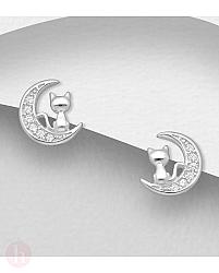 Cercei mici din argint model luna si pisica