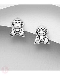 Cercei mici din argint model maimuta