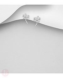 Cercei mici din argint model palmier cu cristale