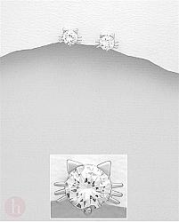 Cercei mici din argint model pisica cu Zirconia