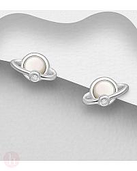 Cercei mici din argint model planeta Saturn