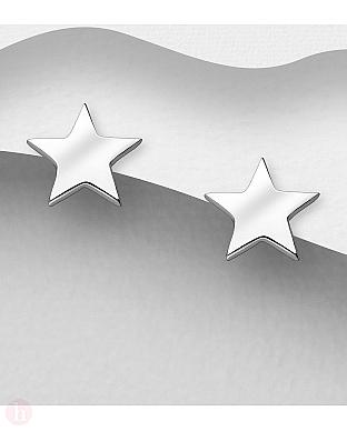 Cercei mici din argint model stea