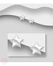 Cercei mici din argint model stea cu cristale