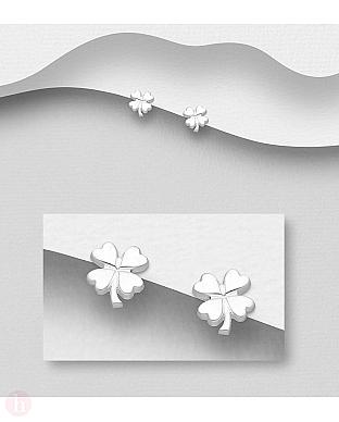 Cercei mici din argint, model trifoi