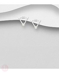 Cercei mici din argint model triunghi cu perle si cristale