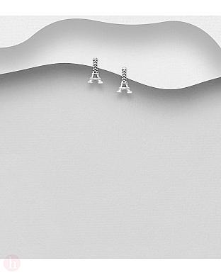 Cercei mici din argint model Turnul Eiffel