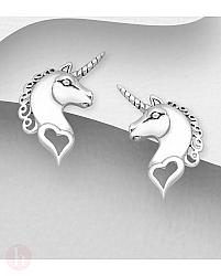 Cercei mici din argint model unicorn - pegas