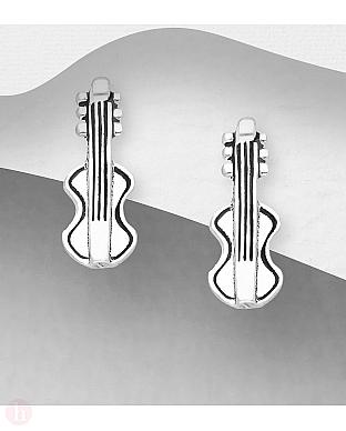 Cercei mici din argint model vioara