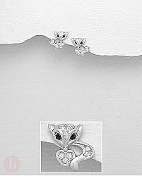 Cercei mici din argint model vulpita si inimioara cu cristale albe si negre