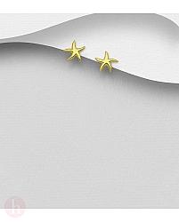 Cercei mici din argint placat cu aur, model stea de mare
