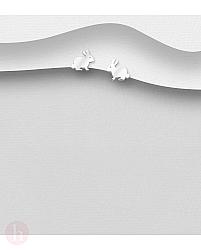 Cercei mici iepurasi argint
