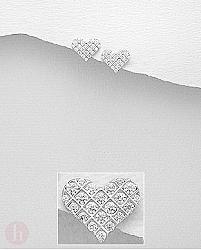 Cercei mici din argint, model inima cu cristale albe