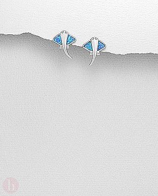 Cercei mici pisica de mare din argint cu pietre albastre