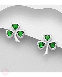Cercei mici trifoi din argint cu cristale verzi