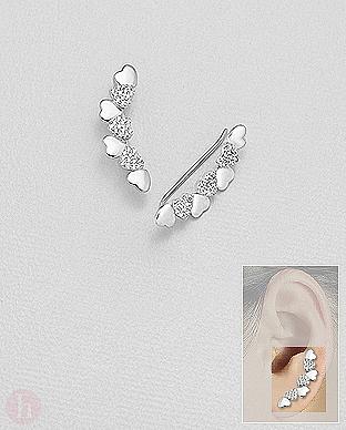 Cercei din argint tip agrafa - ear pins, model sirag de inimioare cu cristale