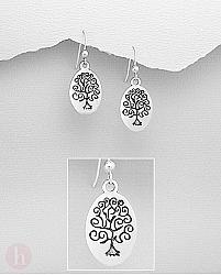 Cercei ovali din argint cu pomul vietii - Tree of Life