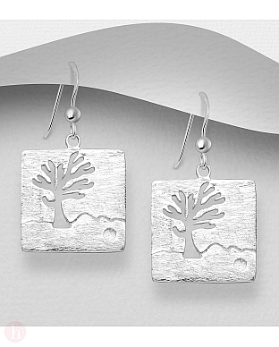 Cercei patrati din argint model Tree of Life