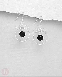 Cercei rotunzi din argint cu pietre negre