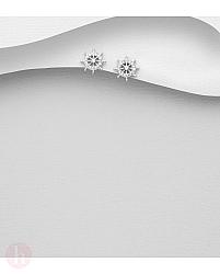 Cercei rotunzi din argint cu cristale