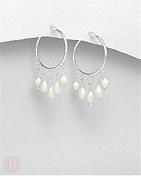 Cercei rotunzi din argint cu cristale si perle de cultura