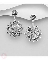 Cercei rotunzi din argint cu floarea vietii