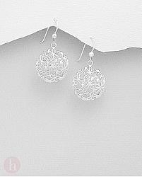 Cercei rotunzi din argint cu flori filigran