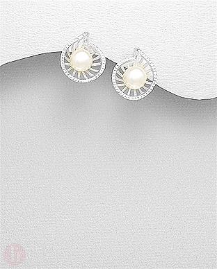 Cercei rotunzi din argint cu perla alba