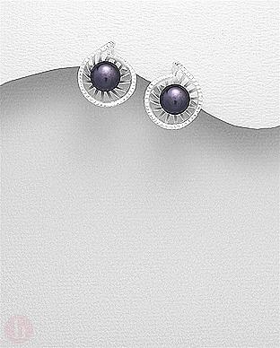 Cercei rotunzi din argint cu perla neagra