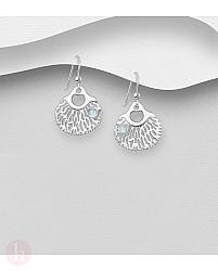 Cercei rotunzi din argint decorati cu pietre semipretioase bleu