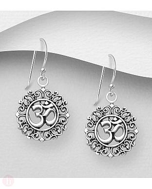 Cercei rotunzi din argint cu simbolul OM