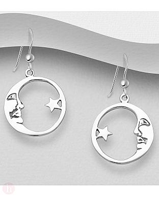 Cercei rotunzi din argint cu stea si luna